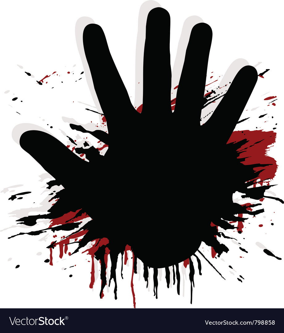 Blood splat with a hand vector