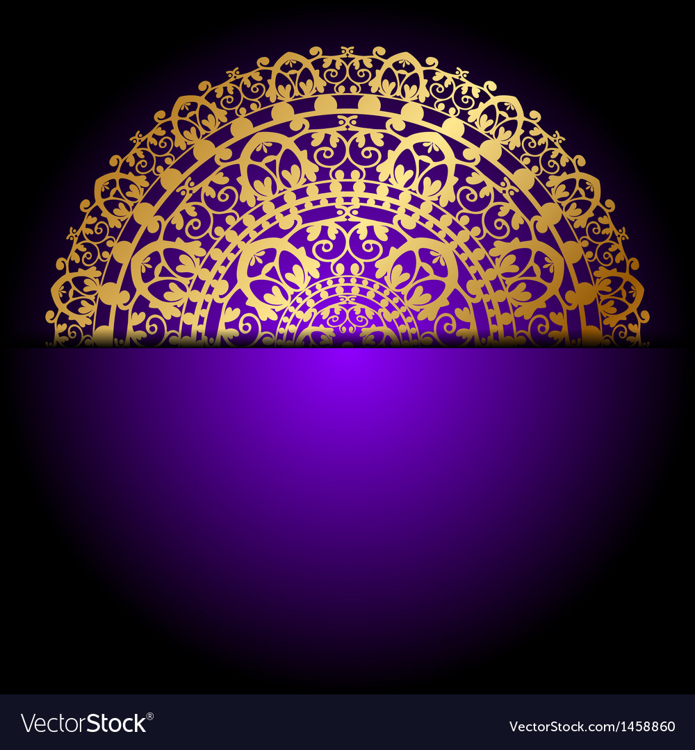 Gold ornament purple background vector