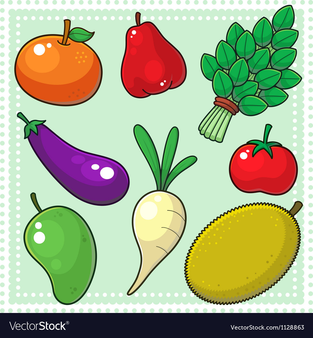 Fruits and vegetables 02 vector