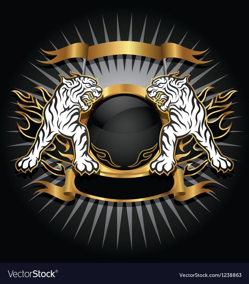 Tiger gold emblem vector
