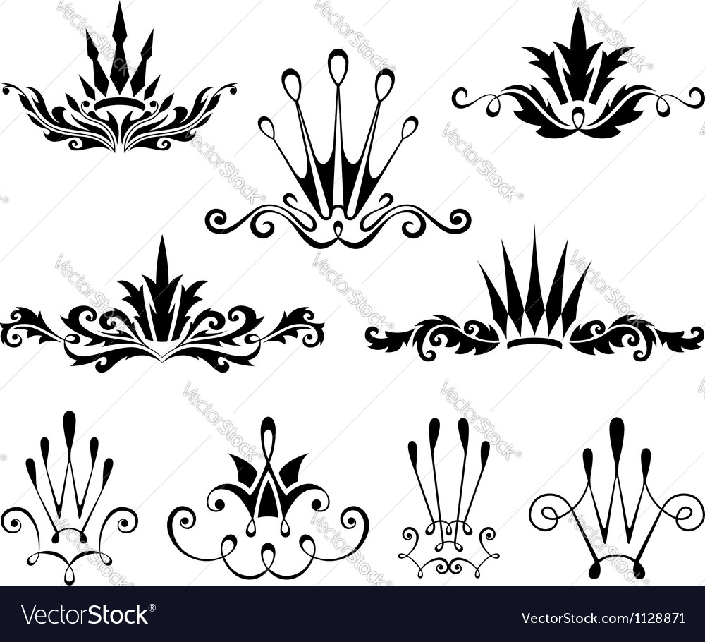 Graphical decorative elements with crowns vector