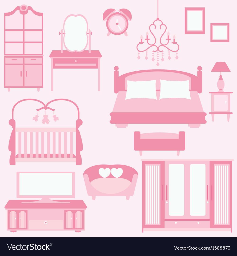 Set of furniture in bedroom vector