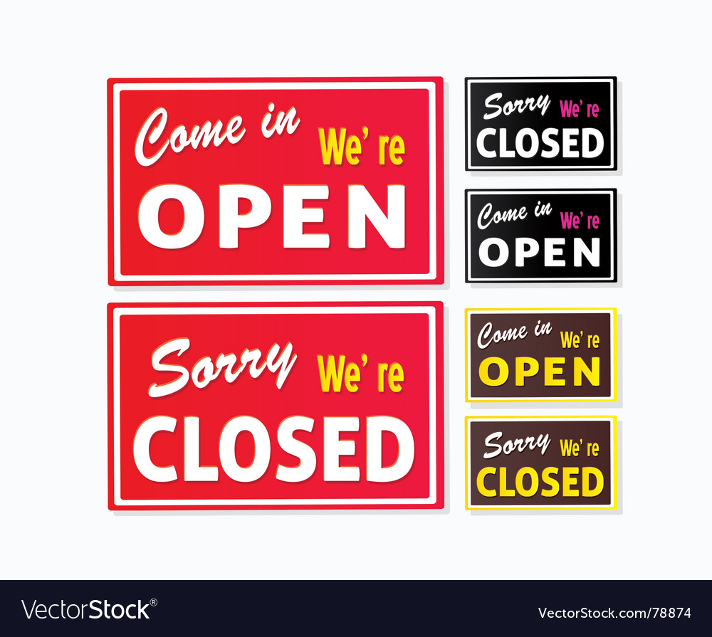 Open and closed store signs vector