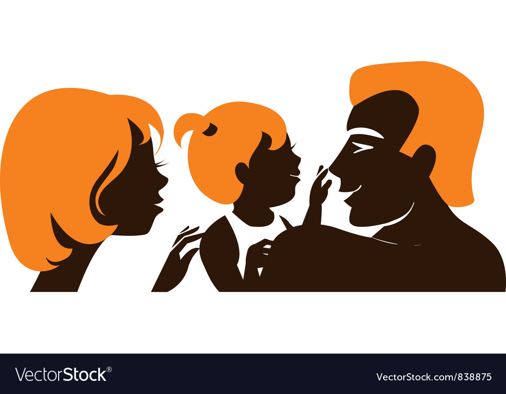 Family silhouette of parents with baby vector
