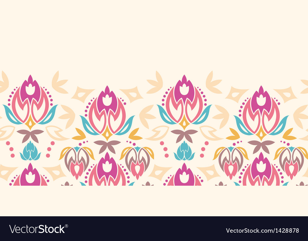 Abstract damask tulips horizontal seamless pattern vector