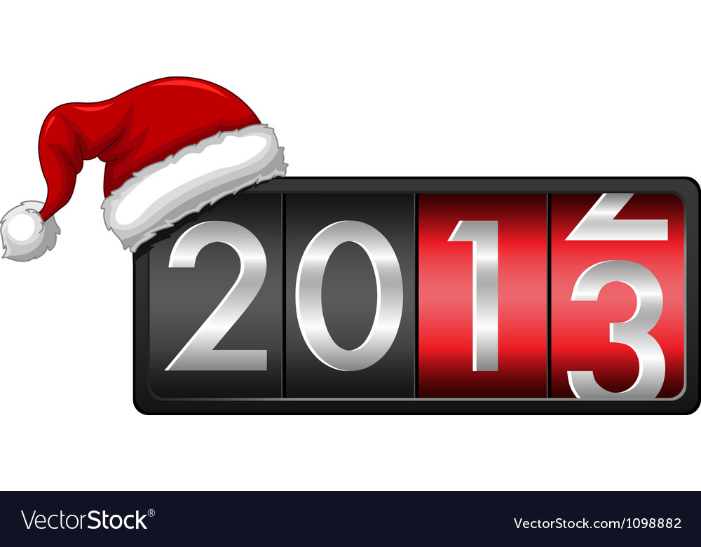 2013 with santa cap vector