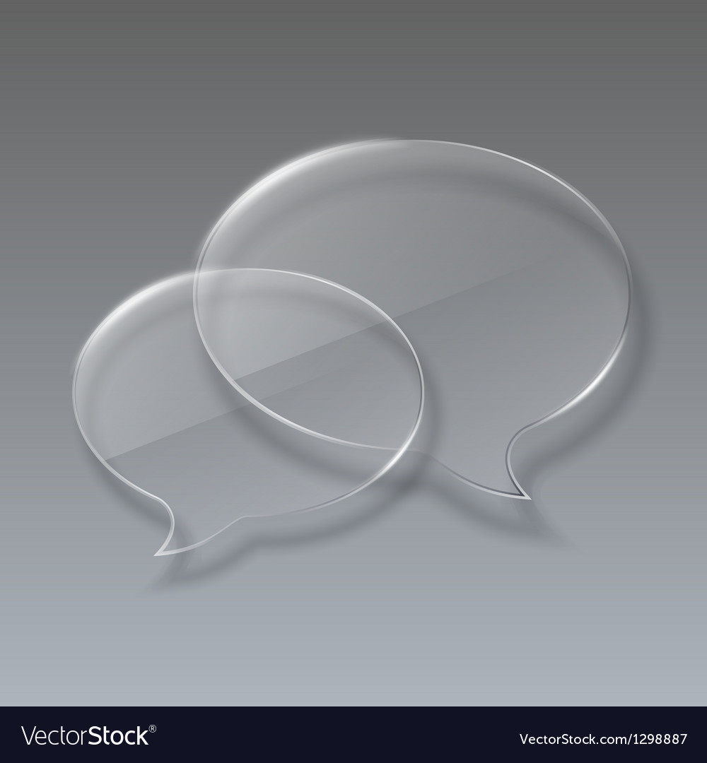Two glass bubbles speech on gray background vector
