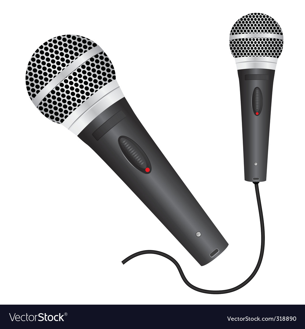 Icon with a black microphone vector