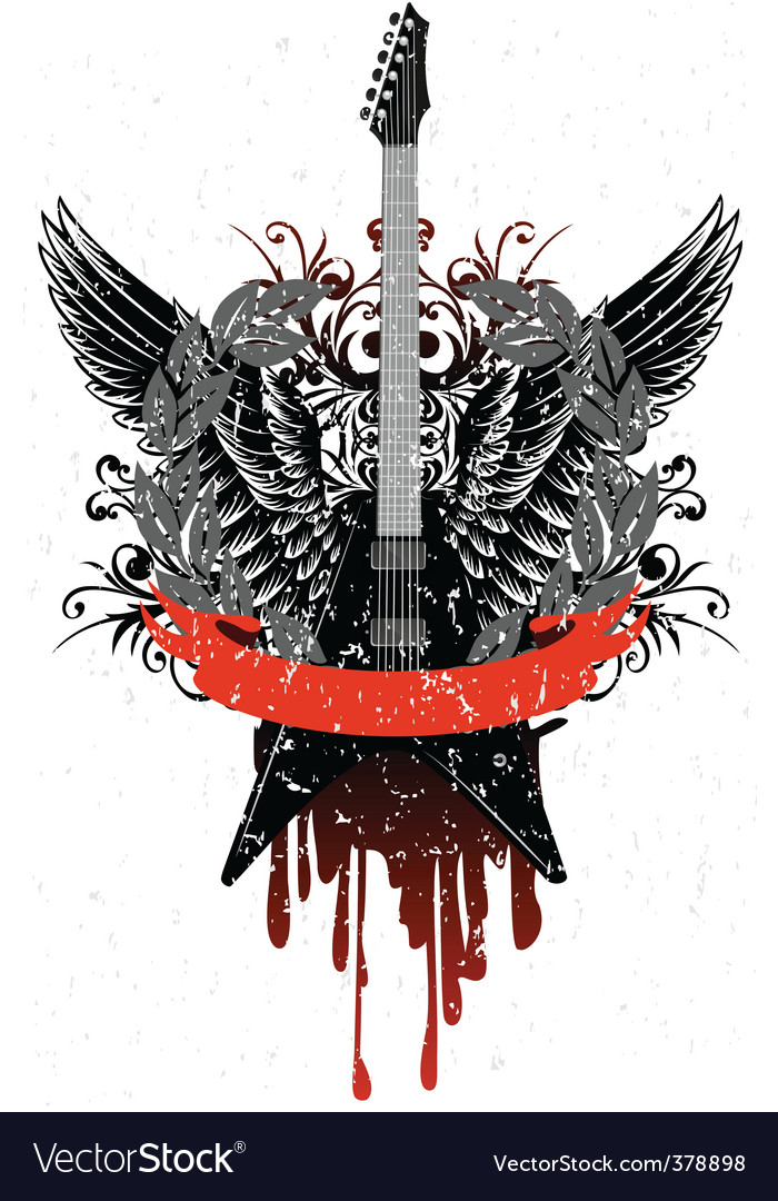 Guitar with wings vector