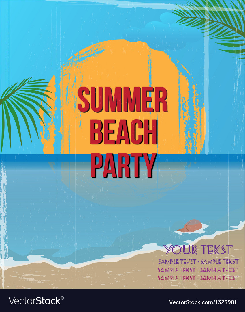 Vintage beach party poster vector