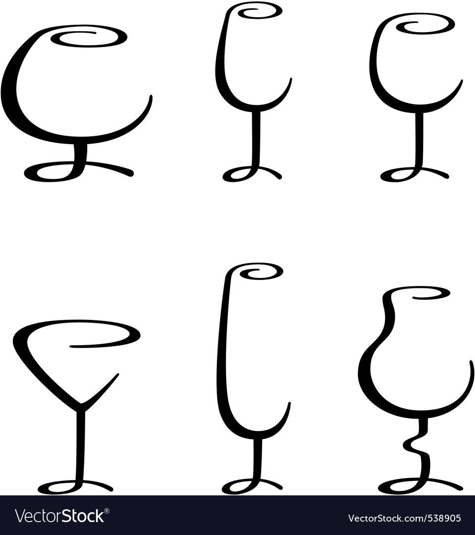 Calligraphic glasses vector