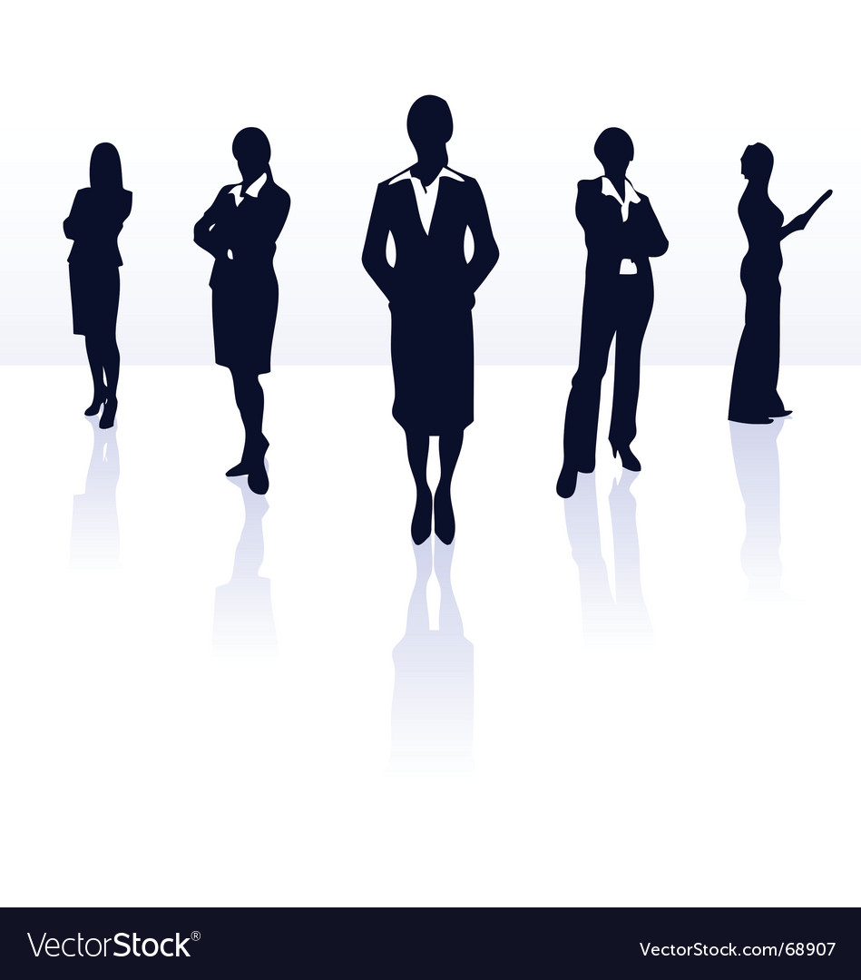 Silhouettes of business woman vector