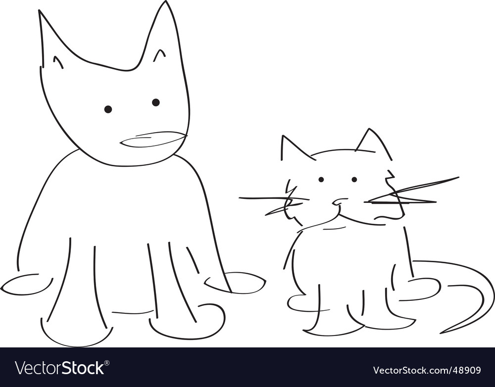 Cat and dog doodle vector