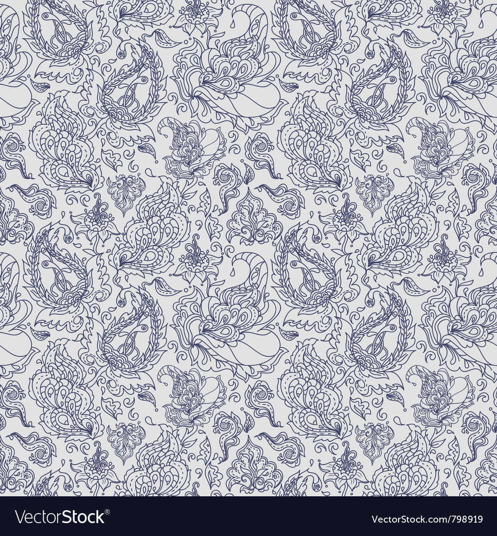 Seamless texture with colorful paisley ornament vector
