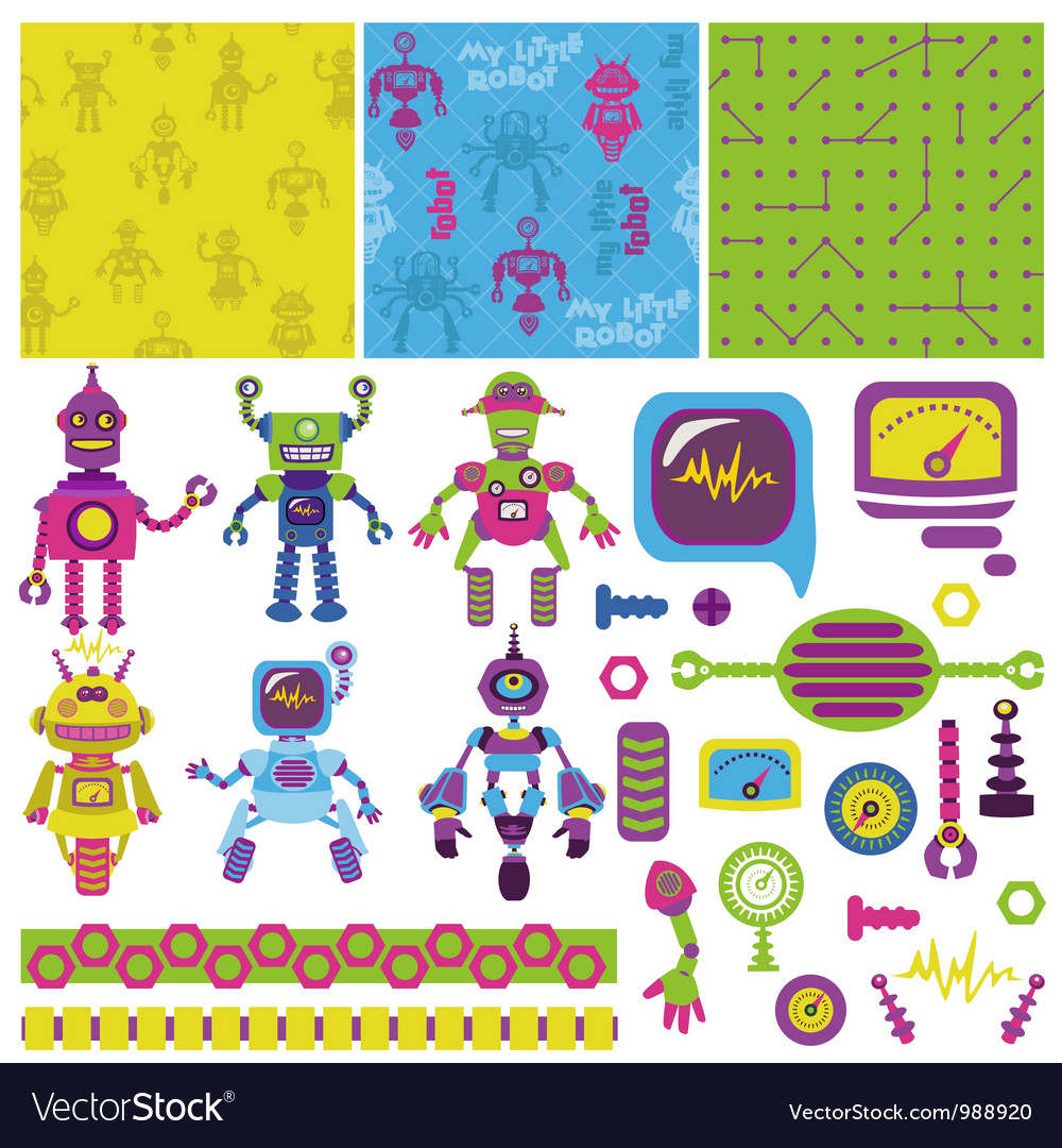 Cute little robots collection vector