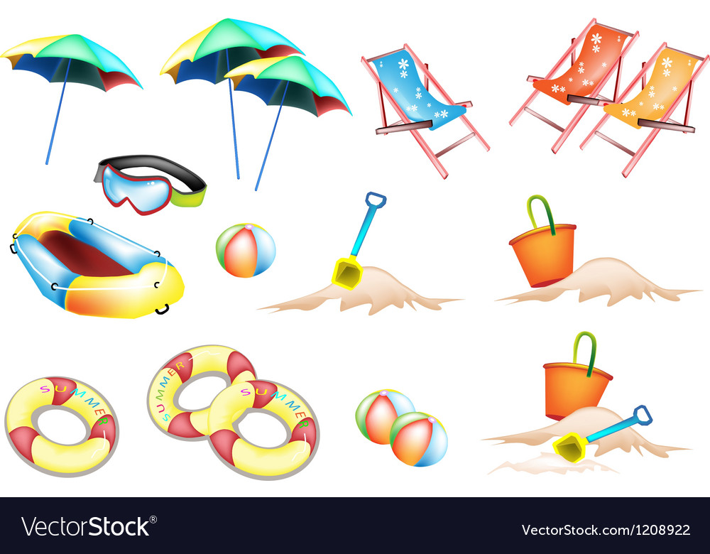 Beach items for summertime vector