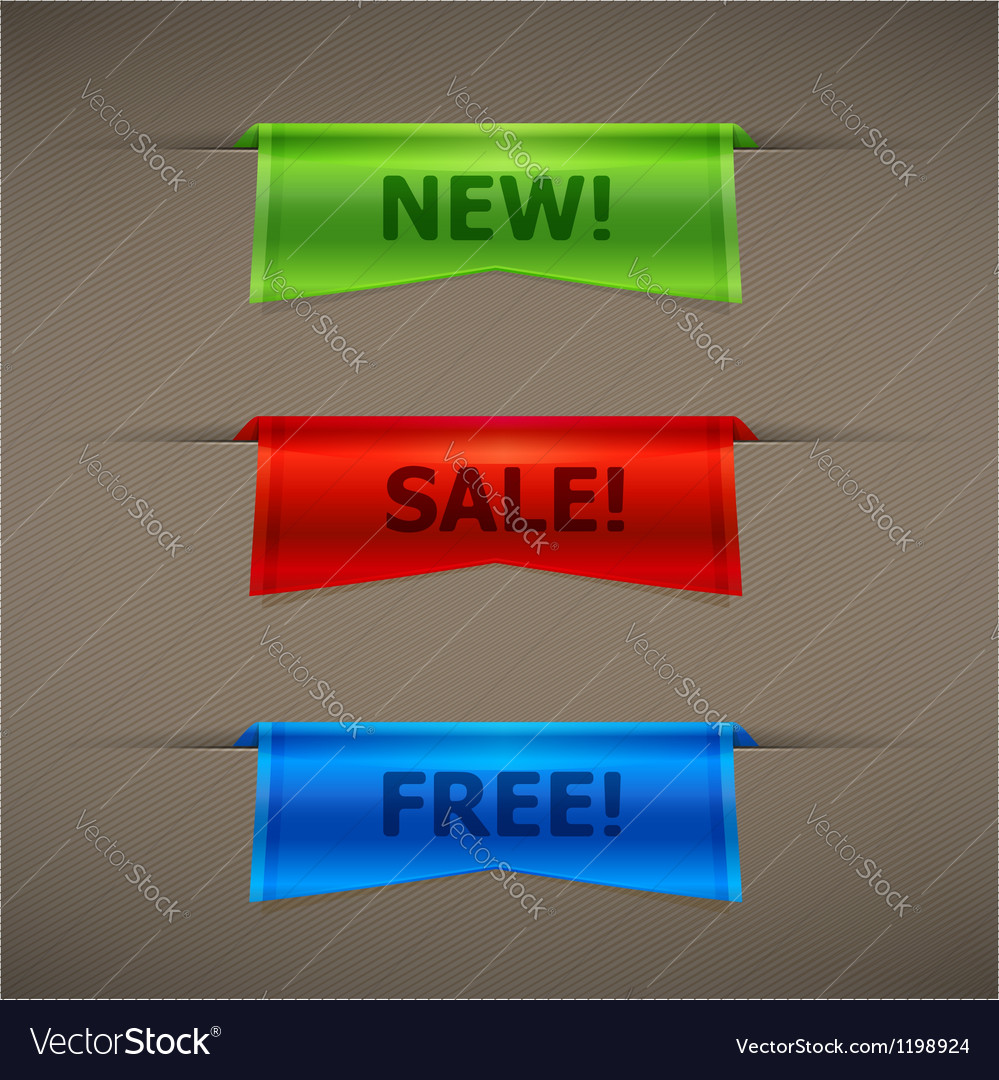Colorful realistic 3d ribbons with text vector