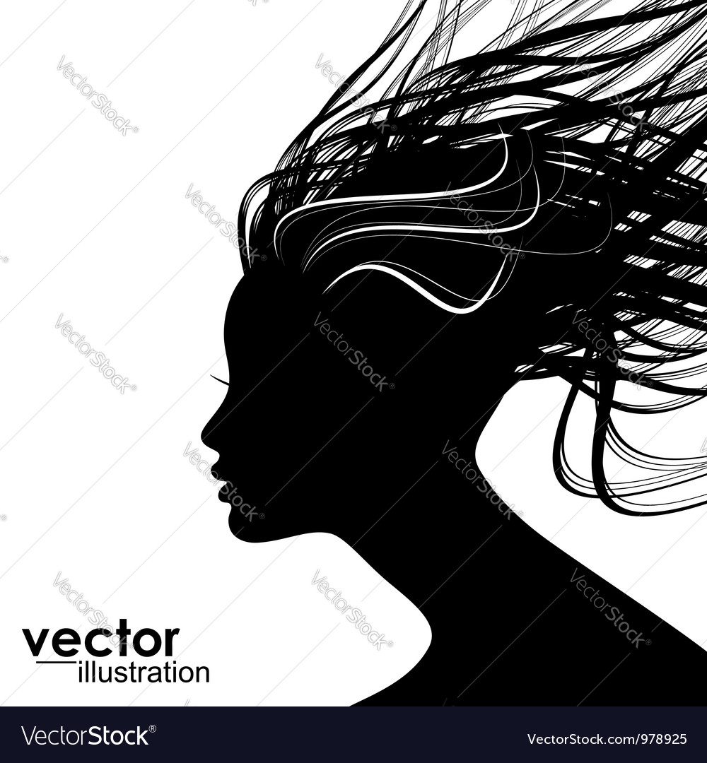 Woman hair style silhouette vector