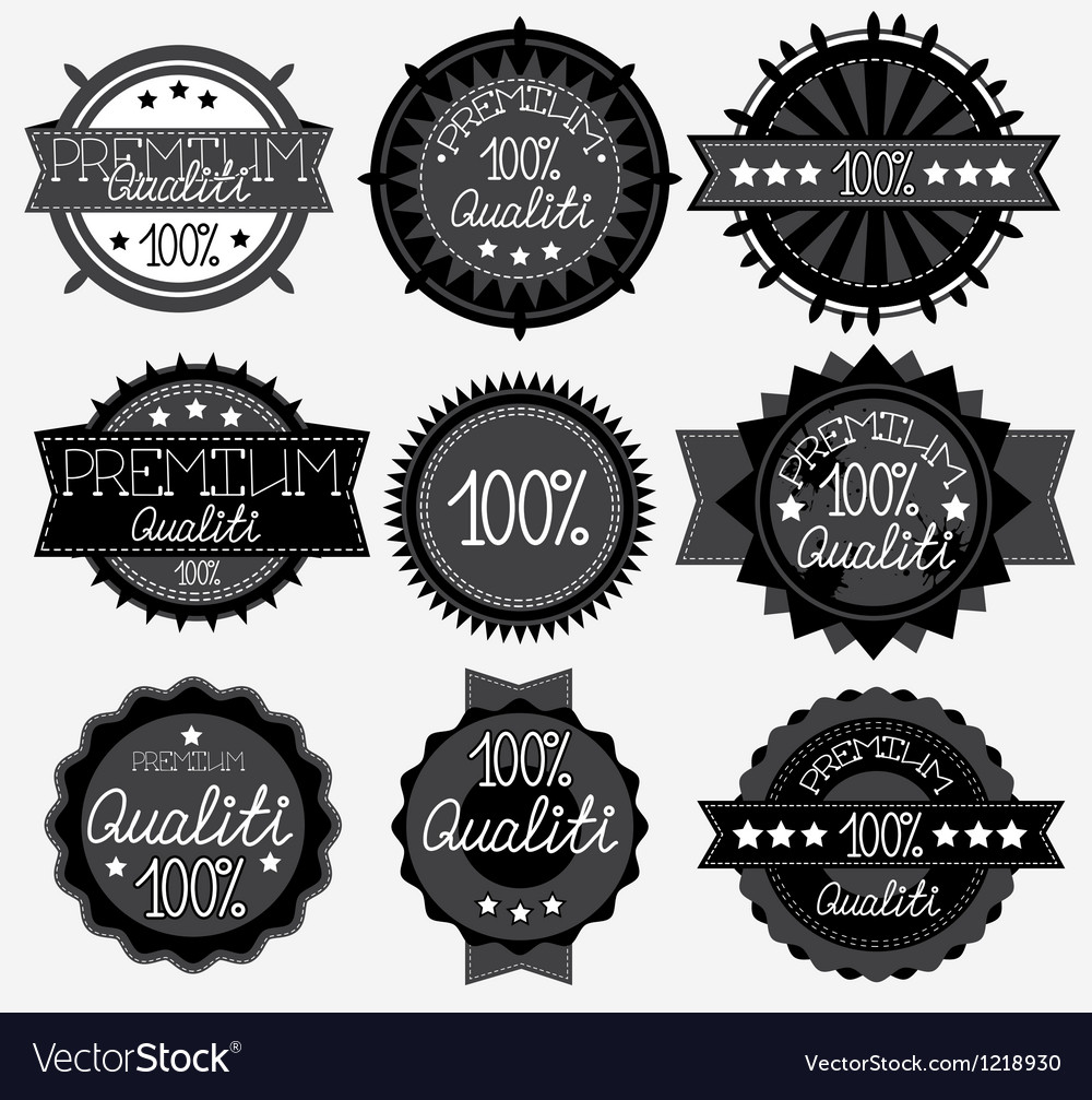 Set of 9 dark labels vector
