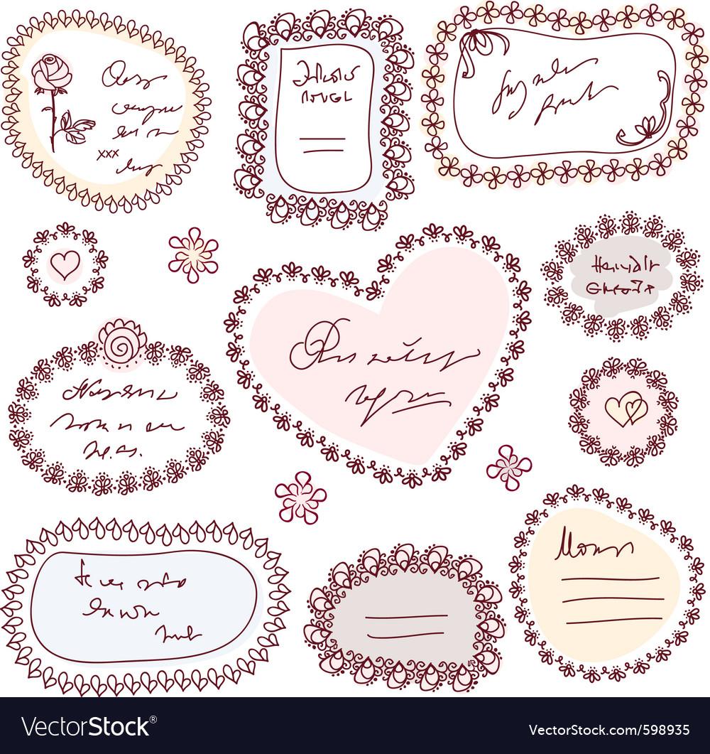 Cute doodle floral frame set vector