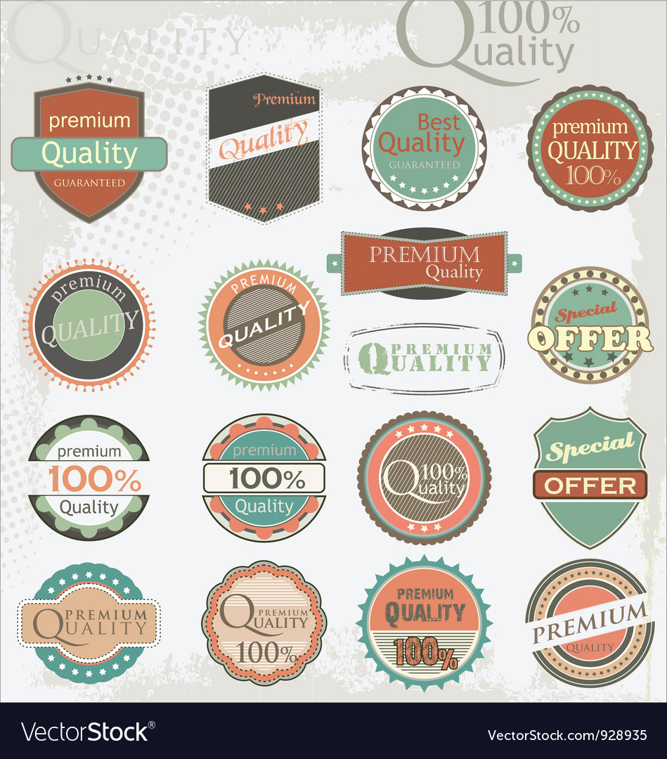 Set of vintage retro premium quality labels vector