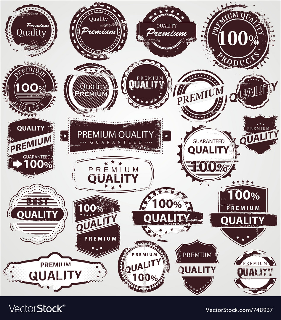 Grunge vintage quality labels vector