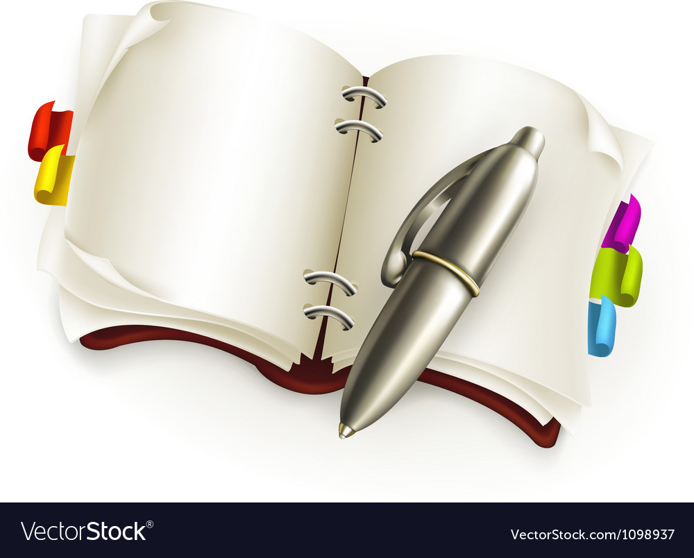 Notebook with pen vector