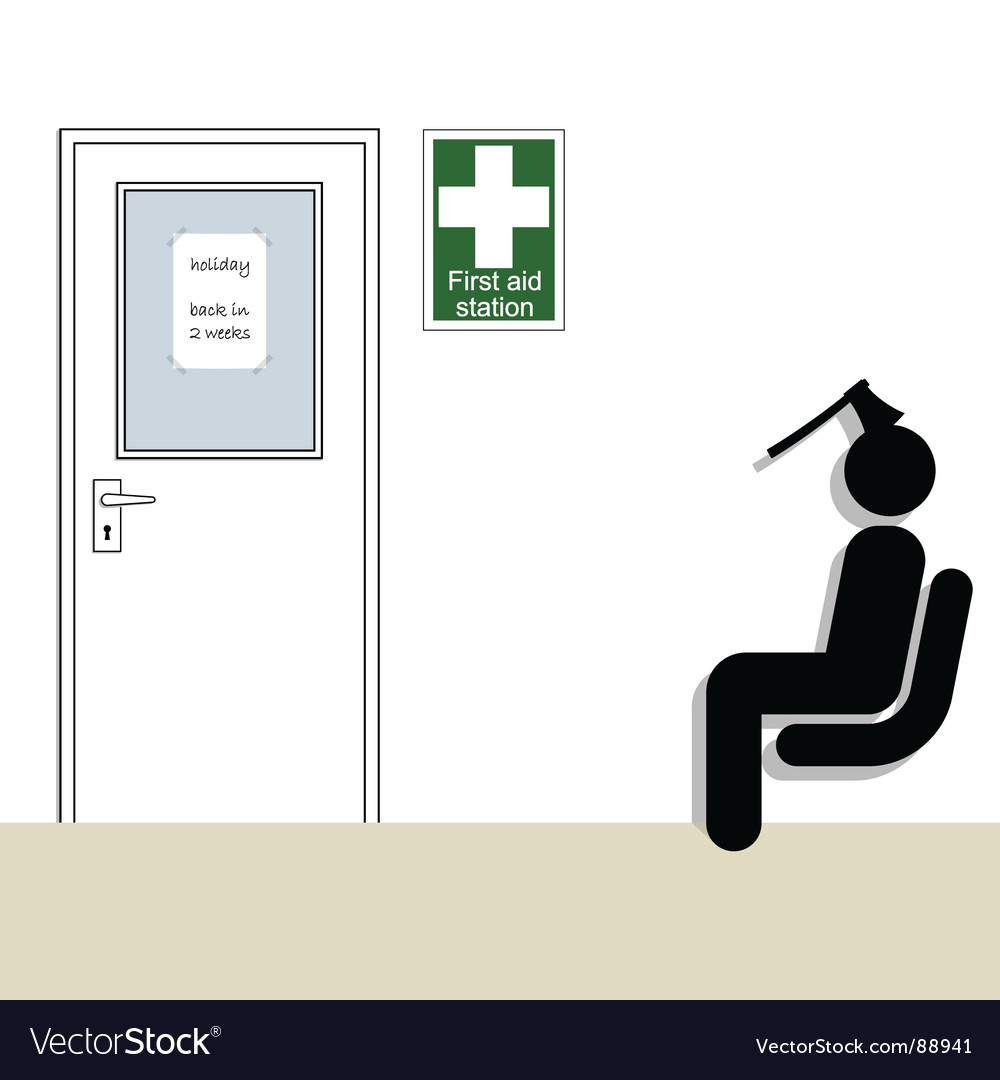 First aid station vector