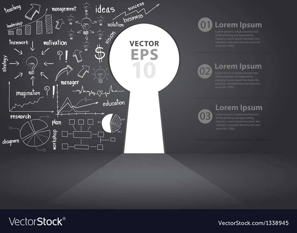 Opened wall in form of a keyhole business concept vector