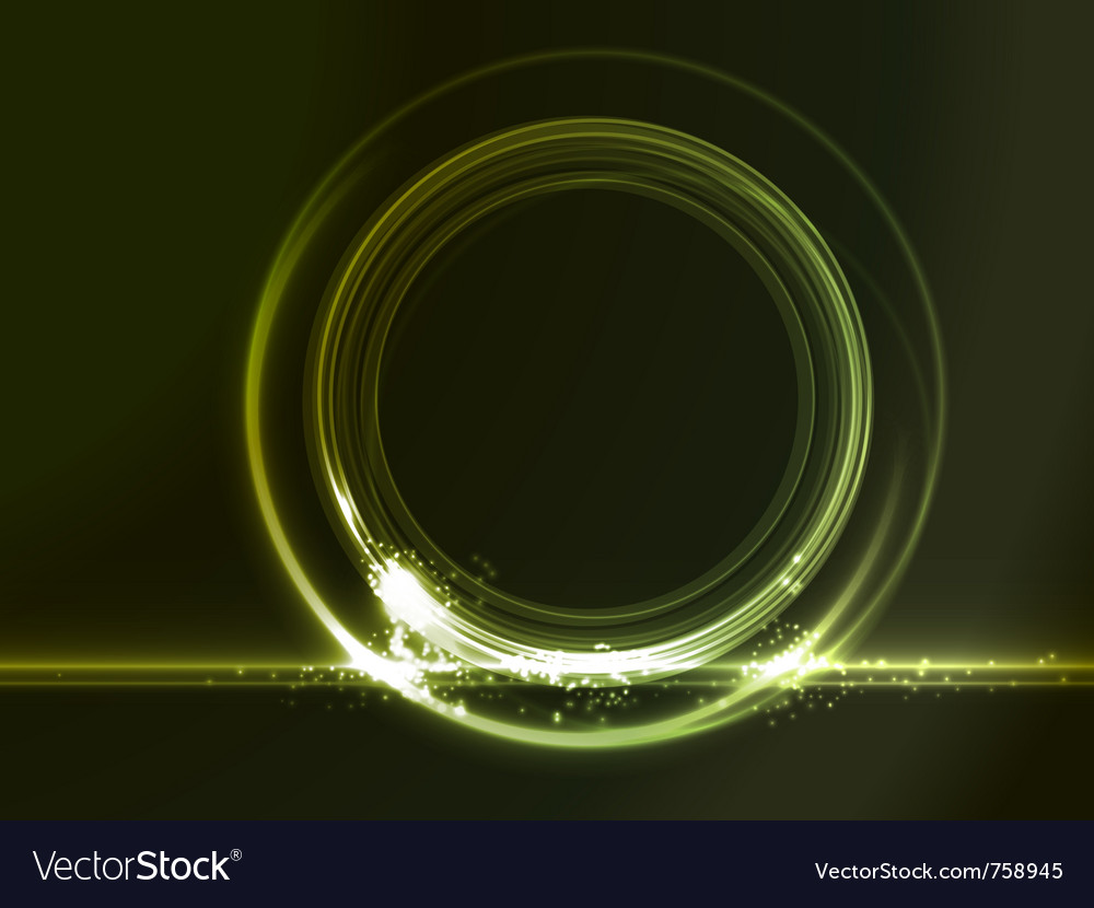 Round placeholder with green light effects vector