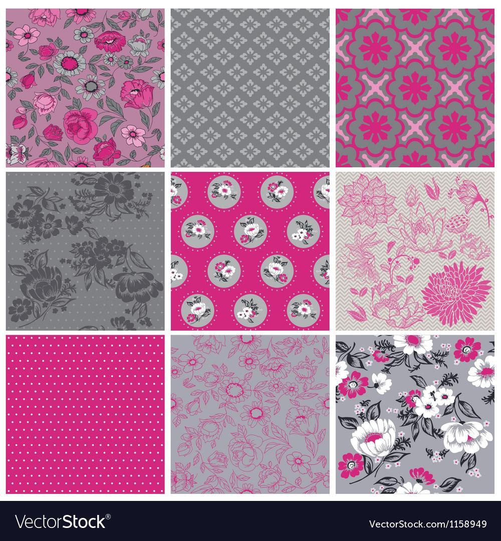 Seamless vintage flower background set vector