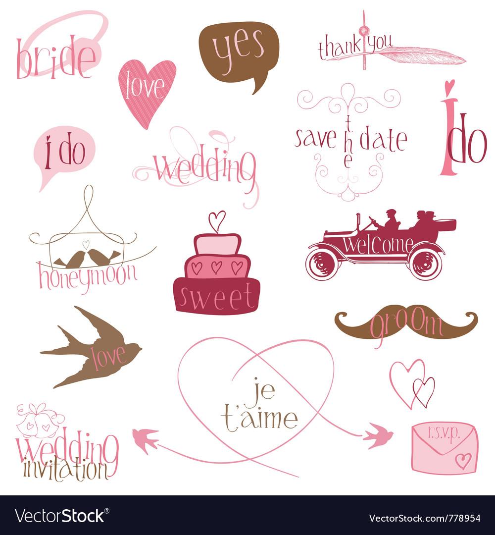 Romantic wedding design elements -for invitation s vector