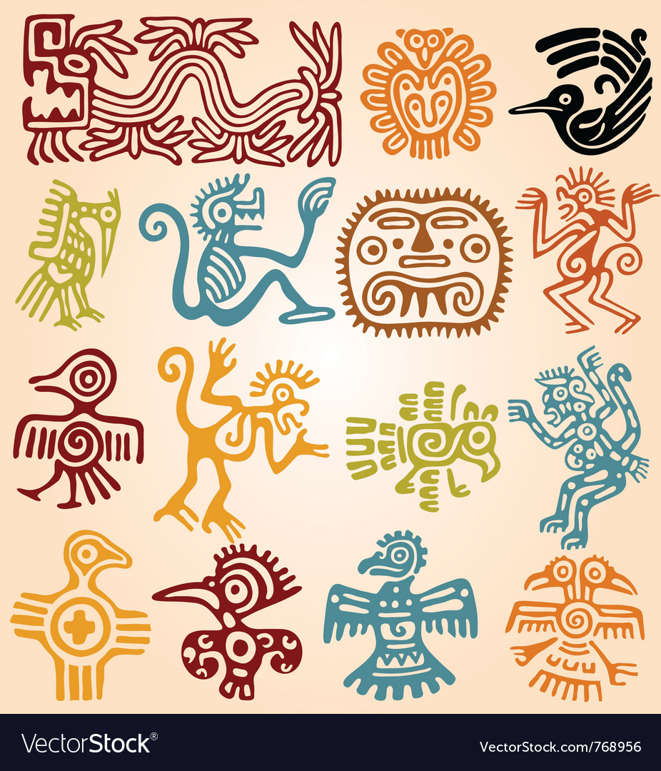 Set - mexican symbols vector