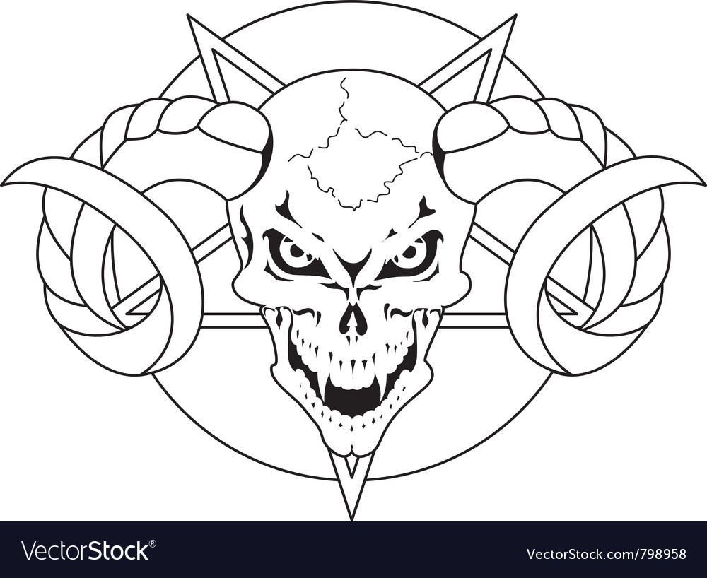 Skull with horns vector