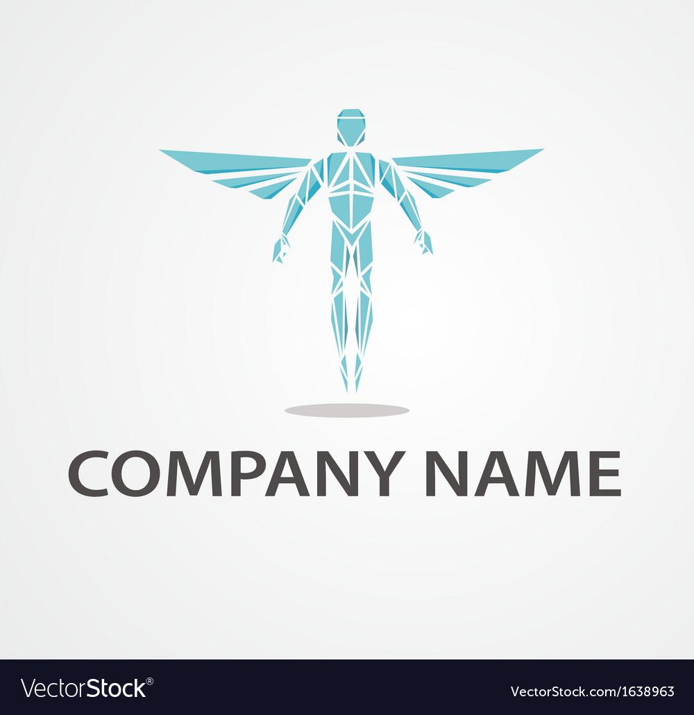 Logo flying man vector