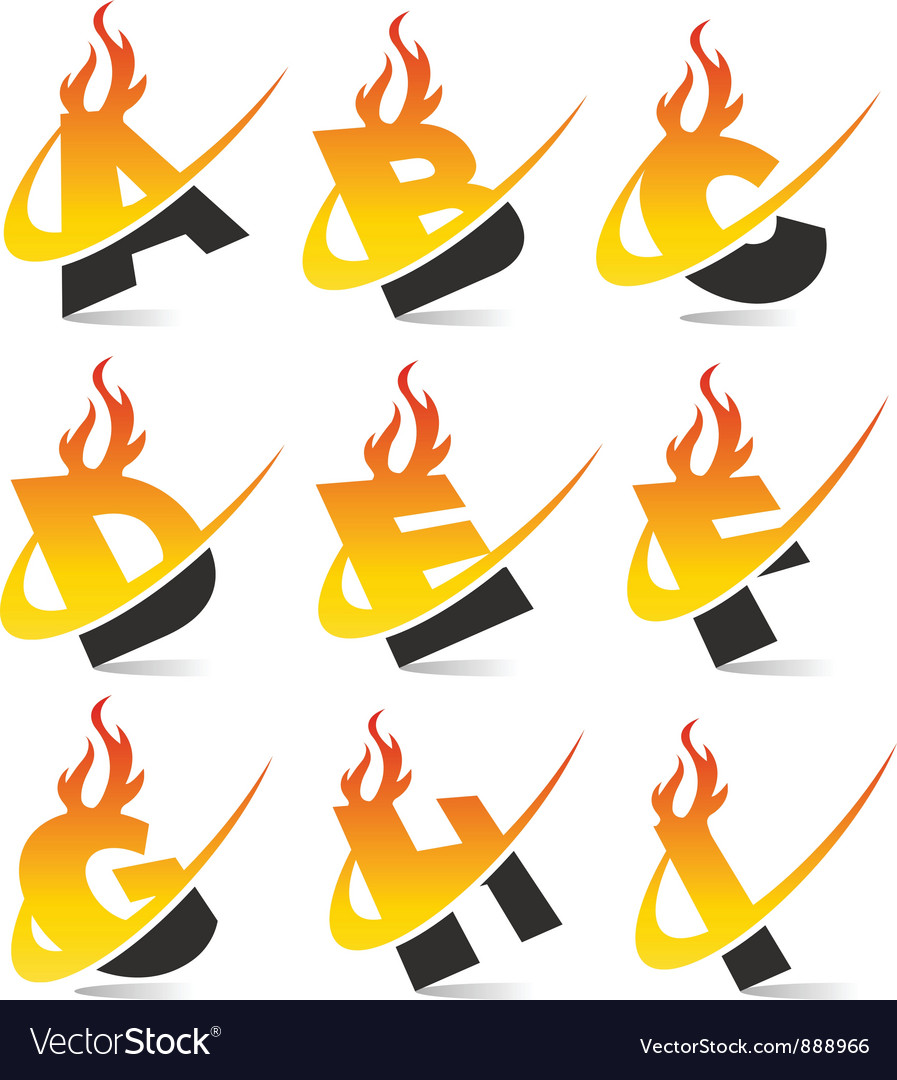Swoosh flame alphabet set 1 vector