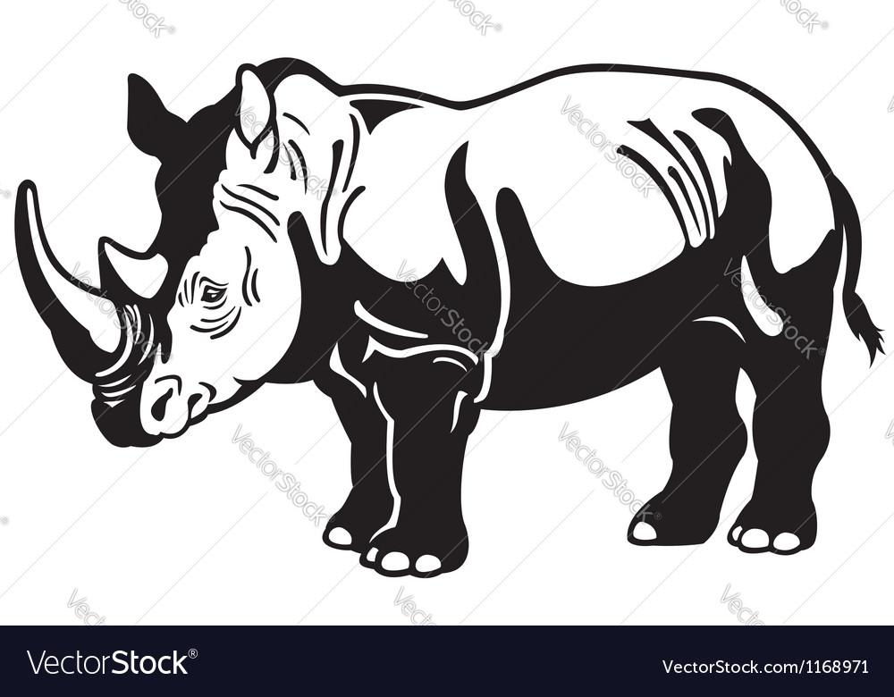 Rhinoceros black white vector