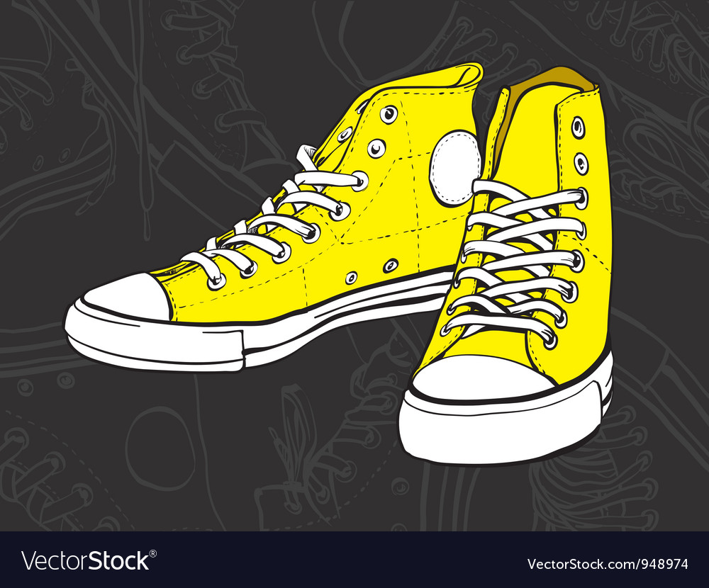 Yellow sneakers vector