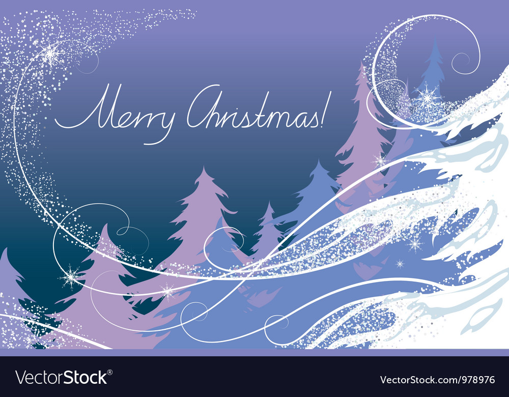 Christmas card the forest vector