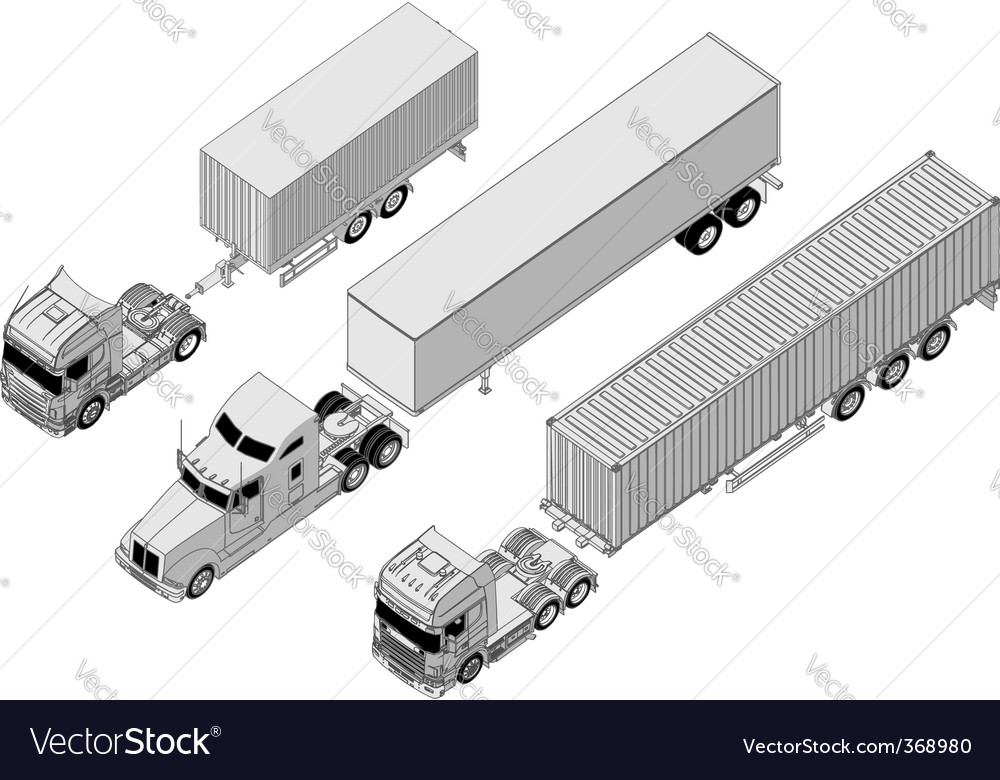 Semi truck set vector