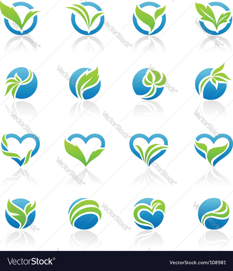 Leaves logo templates vector