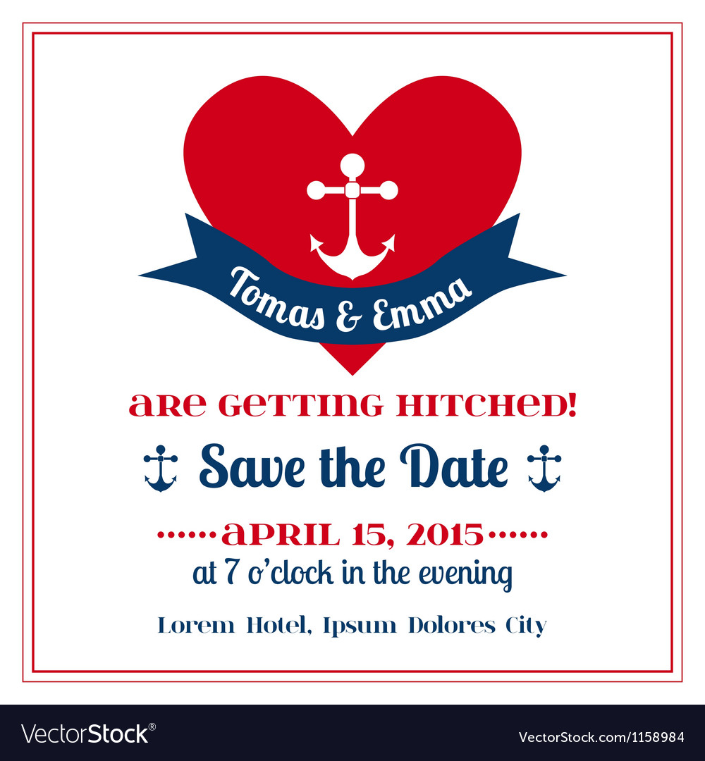 Wedding vintage invitation card anchor with heart vector