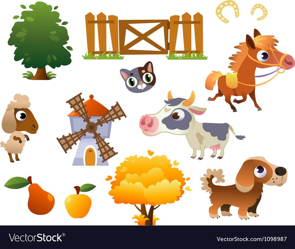 Collection of farm animals vector