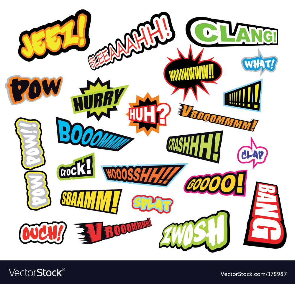 Comic word expressions vector