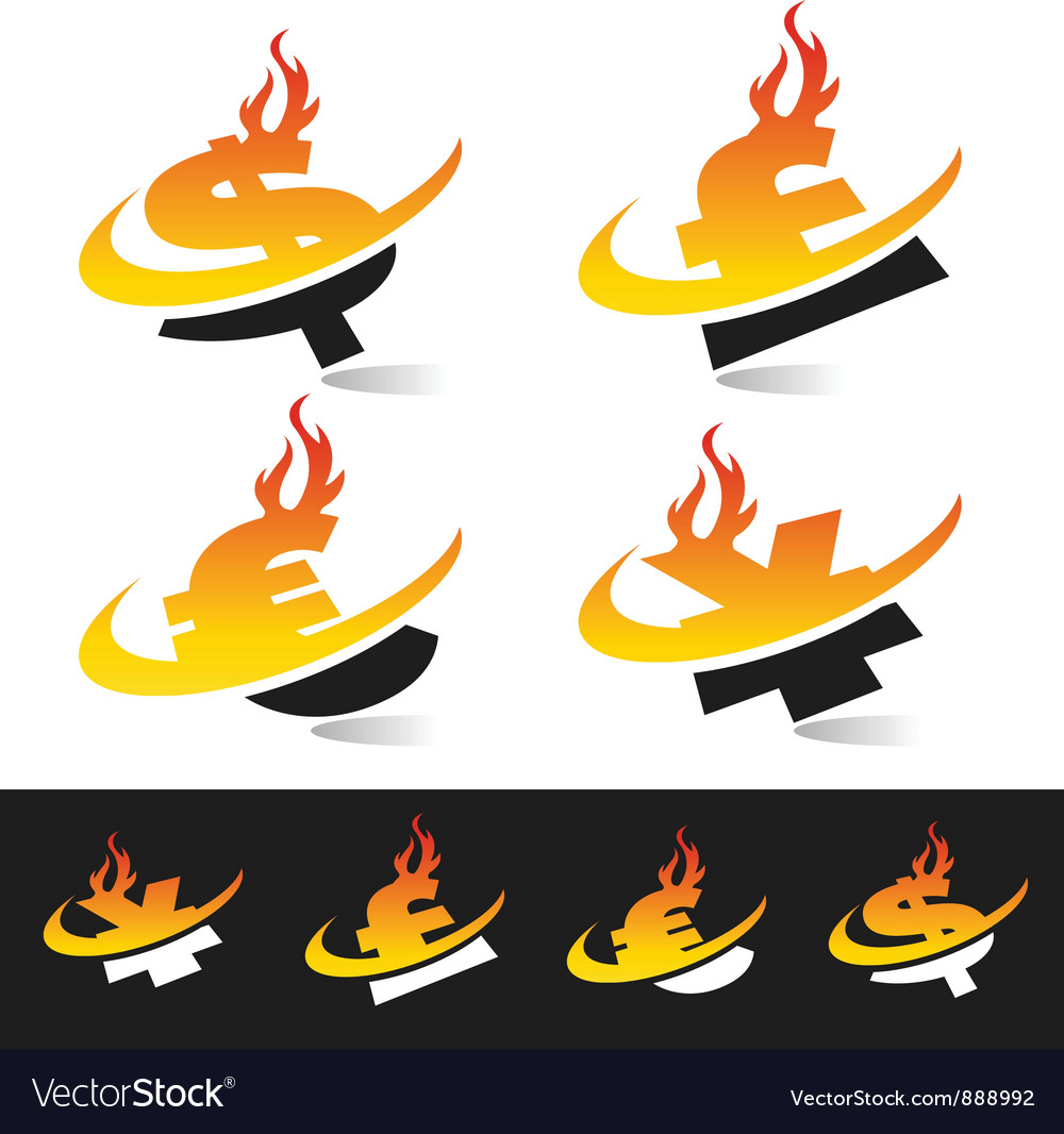 Swoosh flame currency logo symbols vector