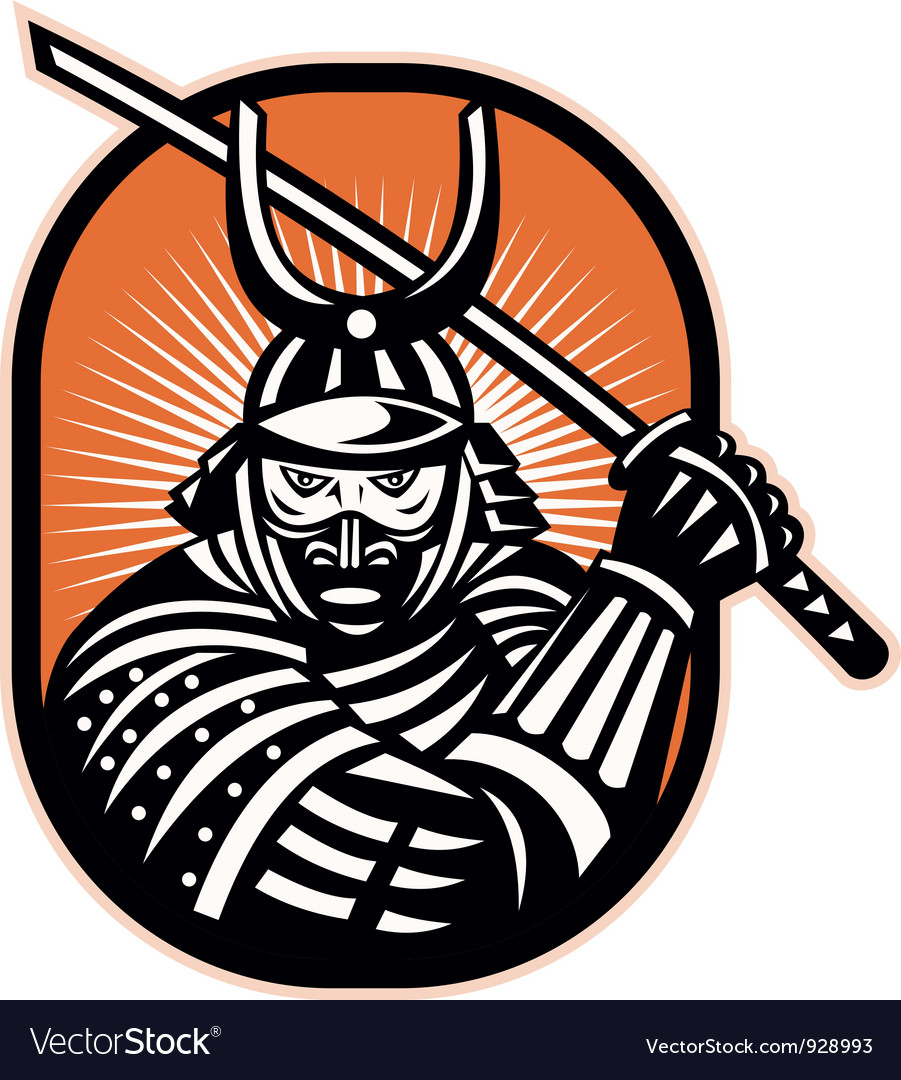 Japanese samurai warrior sword retro vector