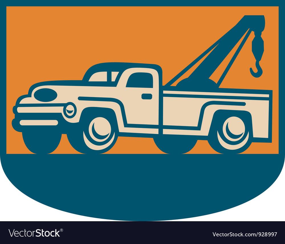 Vintage tow wrecker vector
