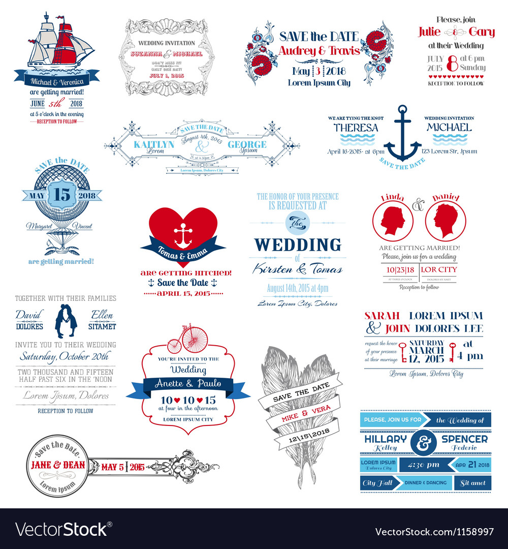 Wedding invitation collection vector