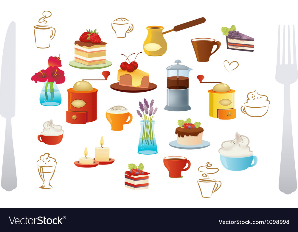 Set of coffee and cake vector