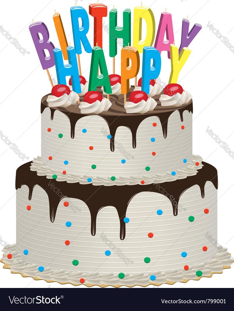 Birthday chocolate cake vector